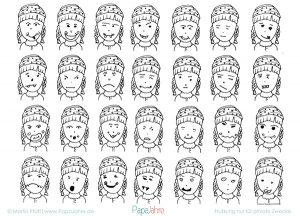 Beispiele für Gesichtsausdrücke im Cartoon-Comic-Stil