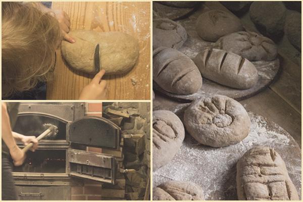 Brotbacken im großen Holzofen