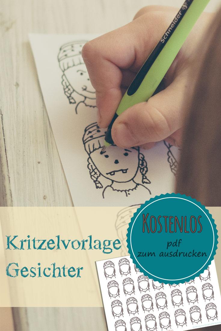 Gesichter zeichnen lernen mit kostenloser Malvorlage