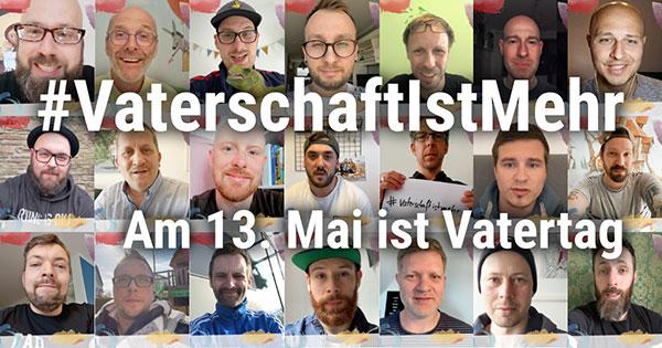 21 Gesichter von Vätern, die bei der Aktion VaterschaftIstMehr 2021 mitgemacht haben.